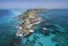 Punta Sura Isla Mujeres - widok z lotu ptaka zdjęcia royalty free