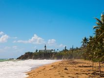 Punta Tuna Lighthouse, Puerto Rico, Maunabo, Puerto Rico from the beach view stock images