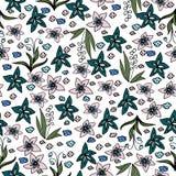 Puntadas del bordado con las rosas, flores del prado Imagenes de archivo