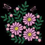 Puntadas del bordado de la flor y de la mariposa de imitación Fotos de archivo