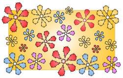 Puntadas del modelo de flores del edredón Imagenes de archivo