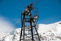 Puntal del funicular en la estación de esquí de Huez del ` de Alpe d fotos de archivo libres de regalías