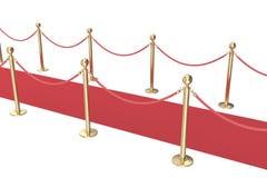 Puntales del oro y una alfombra roja del terciopelo aislada en blanco ilustración 3D Imagen de archivo