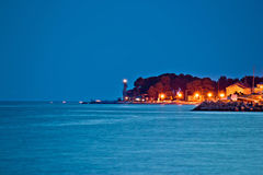 Puntamika peninsula night view in Zadar Royalty Free Stock Photos