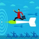 Puntando su obiettivo - eseguire uomo d'affari Immagini Stock