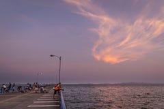 Puntarenas wyrzucać na brzeg turystycznego mola przyciąganie pokojowego Costa Rica obrazy stock