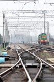 Puntas de la pista de ferrocarril Fotografía de archivo