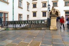 Puntatore all'entrata al Ministero del Tesoro reale dei Habsbourg, Fotografia Stock