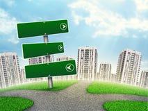 Puntatore in bianco dell'itinerario contro la l grattacieli Immagini Stock Libere da Diritti