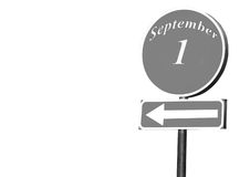 Puntatore con testo il 1° settembre Fotografia Stock
