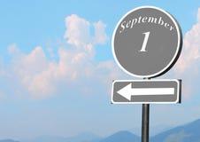 Puntatore con testo il 1° settembre Fotografie Stock Libere da Diritti