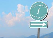Puntatore con testo il 1° settembre Fotografie Stock
