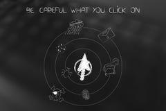 Puntatore del mouse fermato circondato filando le icone cyber di minaccia illustrazione di stock