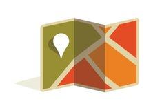Puntatore del perno e della mappa. Illustrazione dell'icona di vettore Immagine Stock Libera da Diritti