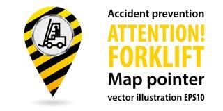 Puntatore della mappa Carrello elevatore di attenzione Informazioni di sicurezza Disegno industriale Illustrazioni di vettore Fotografie Stock Libere da Diritti