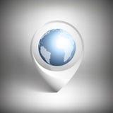 Puntatore della mappa con il globo del mondo Icona bianca Fotografia Stock