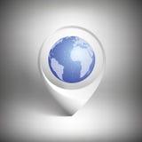 Puntatore della mappa con il globo del mondo Icona bianca Immagini Stock Libere da Diritti