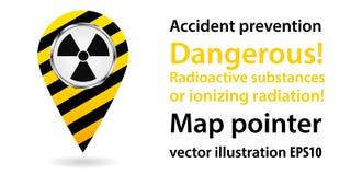 Puntatore della mappa Radiazione pericolosa Informazioni di sicurezza Disegno industriale Illustrazioni di vettore Immagine Stock Libera da Diritti