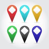 Puntatori della mappa di vettore messi Fotografie Stock Libere da Diritti