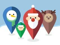Puntatori di Natale di vettore con le icone - Santa, Elf, renna, pupazzo di neve Fotografia Stock