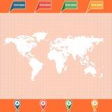 Puntatori punteggiati della mappa e di posizione di mondo Fotografia Stock
