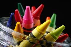 Punte dei pastelli colorati in vaso, ad angolo Fotografie Stock Libere da Diritti
