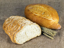 Punte del grano e del pane bianco Immagini Stock