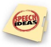 Punte di consiglio parlare pubblico della cartella di Manila del bollo di idee di discorso Fotografie Stock Libere da Diritti