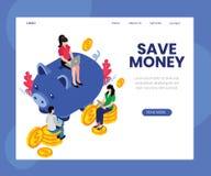 Punte per conservare concetto isometrico online del materiale illustrativo dei soldi illustrazione di stock