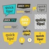 Punte rapide, insieme utile di vettore delle insegne di trucchi illustrazione di stock