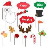 Puntelli della cabina della foto per il Buon Natale Immagine Stock