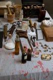 Puntelli della medicina di guerra civile Fotografia Stock