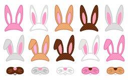 Puntelli svegli della cabina della foto di Pasqua come mette degli elementi grafici del partito del costume del coniglietto di pa illustrazione di stock