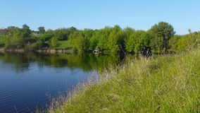 Puntello del lago Paesaggio autentico di estate video d archivio