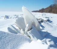 Puntello ghiacciato della spiaggia del lago Erie Immagine Stock