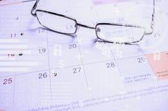Punten op de kalenderpagina's Punten van nadruk Royalty-vrije Stock Afbeeldingen