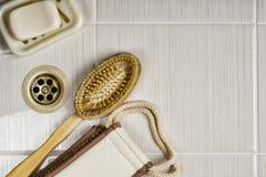 Punten voor het wassen van en het borstelen van tanden worden gebruikt die Royalty-vrije Stock Fotografie