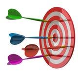 Puntería del dardo con muchas flechas coloridas 3d stock de ilustración