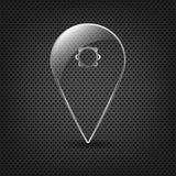Puntero de cristal del Pin de la correspondencia en un fondo del metal Imagen de archivo