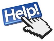 Puntero del dedo que hace clic el botón de la ayuda Imágenes de archivo libres de regalías