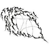 Puntero estilizado abstracto de la gota de B&W Foto de archivo