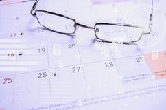 Punti alle pagine del calendario Punti del fuoco immagini stock libere da diritti