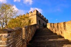 Punti ascendenti della grande muraglia a Mutianyu Fotografia Stock