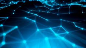 Punti astratti del collegamento Priorità bassa di tecnologia Tema del blu del disegno di Digital Concetto della rete illustrazione vettoriale