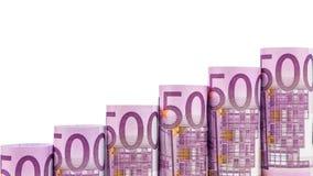 Punti in aumento fatti di 500 euro banconote Fotografia Stock