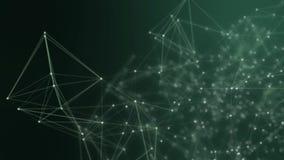 Punti collegati estratto su fondo verde intenso Concetto di tecnologia stock footage