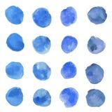 Punti del blu dell'acquerello Fotografia Stock