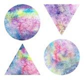 Punti dell'acquerello su un fondo bianco Triangoli e cerchi dell'acquerello Disegnato a mano Fotografia Stock