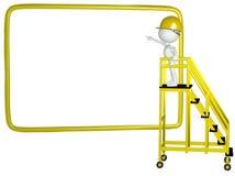 Punti dell'operaio di costruzione al segno 3D Fotografia Stock