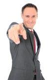 Punti dell'uomo d'affari con la barretta Fotografie Stock